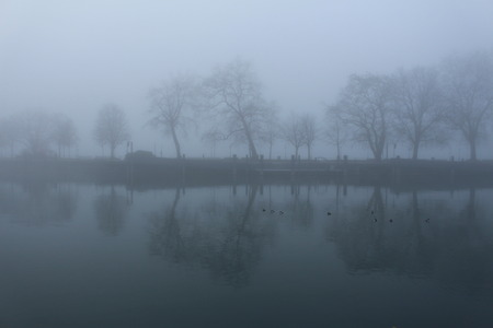 Foggy weather in Lake Constance (Bodensee) in Bregenz, Vorarlberg, Austria.