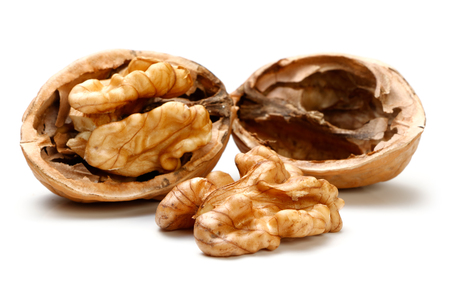 Half a piece of walnut. isolated on a white background Imagens - 68787196