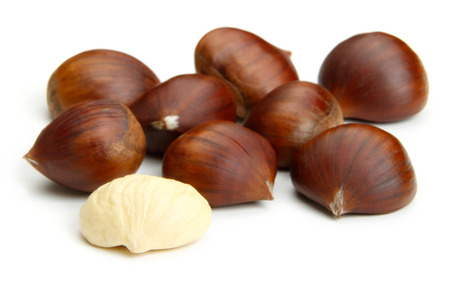 Chestnuts isolated on white background Stock Photo