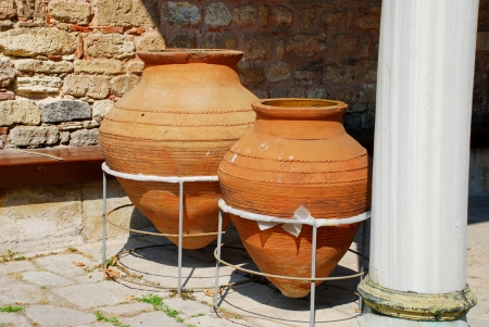 Two clay amphoras