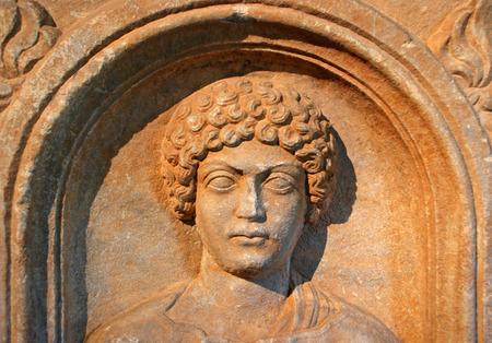 Close up of a stone carved face Banco de Imagens