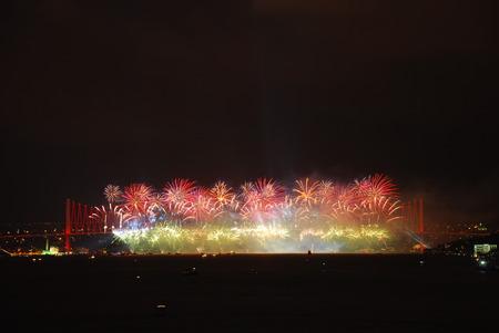 Celebration with fireworks. Istanbul - Turkey photo