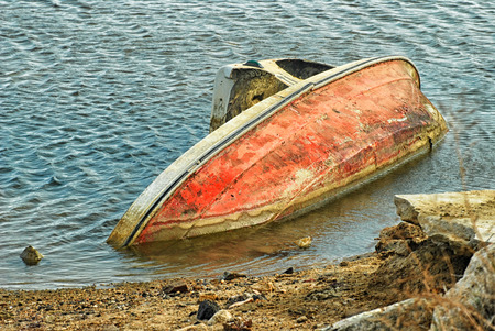 abandoned boat in canal Stock Photo