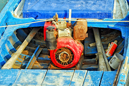 Old rusty diesel boat engine. photo