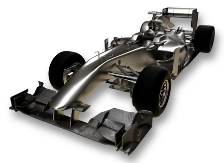 A 3d formula 1 car on a white background