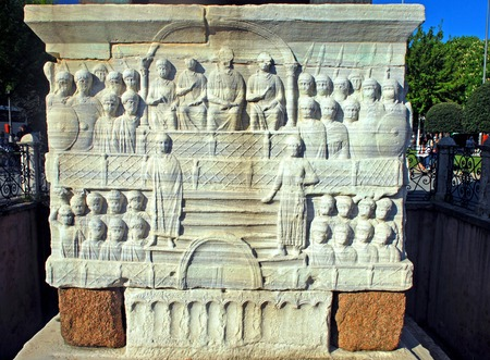 obelisk stone: The emperor and his court, Detail of the pedestal, Theodosius Obelisk, Istanbul, Turkey Stock Photo