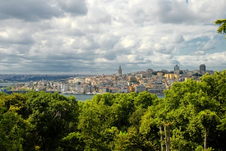 Beyoglu district, Galata Tower in Istanbul, Turkey