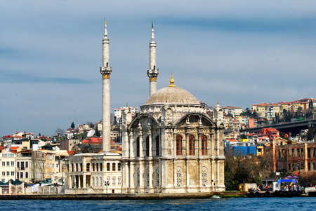 Ortakoy mosque is a baroque style mosque from late Ottoman era 写真素材