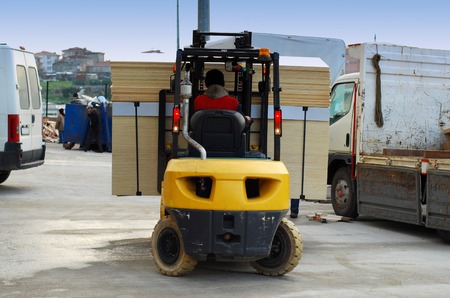 Yellow Forklift loader for warehouse