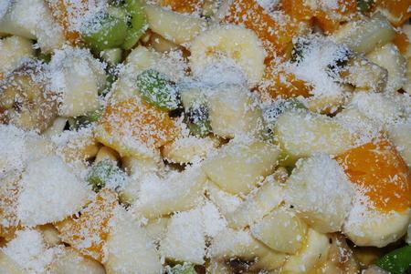 fruit salad with banana, kiwi,orange Banco de Imagens