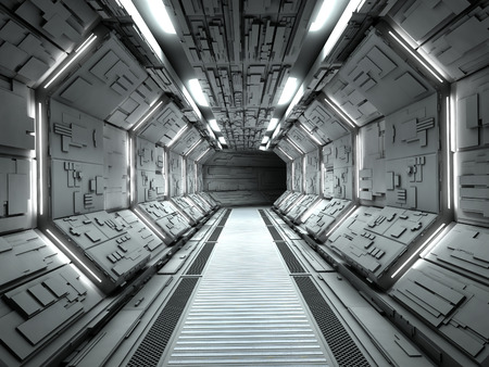 corridor: Futuristic spaceship interior 3d rendering Stock Photo