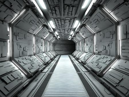 Nave espacial futurista entre la representación 3d Foto de archivo - 54875085