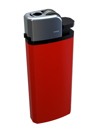 Red cigarette lighter isolated on white background
