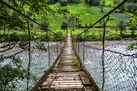 Firtina Creek Rope Bridge, Camlihemsin, Rize, Turkey 写真素材