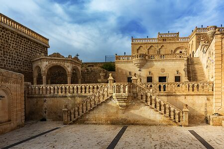 We are in Mardin's pear Midyat. It is one of the places that should be seen with its architecture, lifestyle and cultural richness. Stock Photo