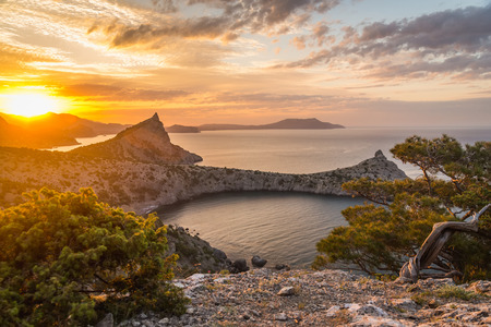 Seascape in the mountains early in the morning at sunrise summer in Crimea photo