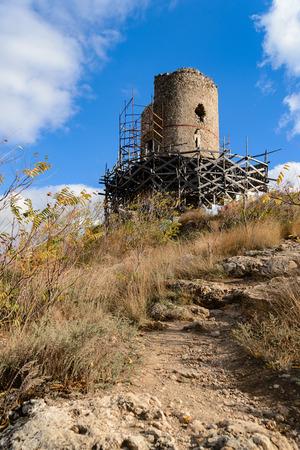 Tower of Cembalo in Balaklava in the process of restoration, Sevastopol,