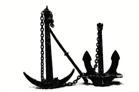 Two old nautical anchors on a white background, isolate