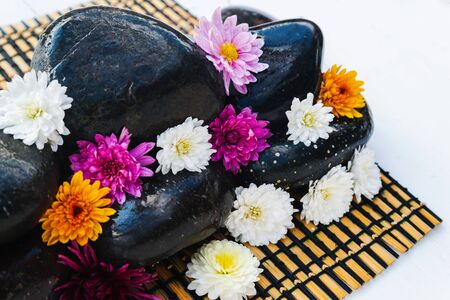 Wet black stones with chrysanthemum buds, decor for spa, relaxation and massage Stock fotó