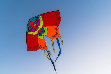 Bright colorful kite flying in the blue clear sky Stockfoto - 134847119