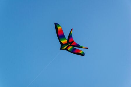Bright colorful kite flying in the blue clear sky Stockfoto - 134847124