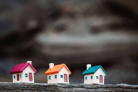 Three small houses on the sea coast, housing concept Stockfoto - 134847147