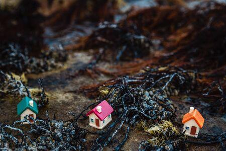 Three small houses on the sea coast, housing concept Stockfoto - 134847148
