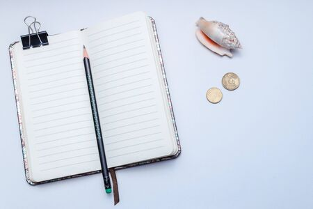 An open lined notebook with a pencil on a white background, concept notes, ideas, organization, diary, list