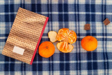Book, tangerines and chocolate on a blue plaid blanket, concept of vacation, vacation, romance, christmas, reading Stockfoto - 137157723