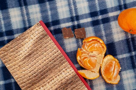 Book, tangerines and chocolate on a blue plaid blanket, concept of vacation, vacation, romance, christmas, reading Stockfoto - 137157726