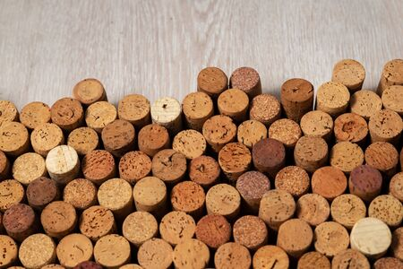 Butt ends of wine corks with white space for your own text Stockfoto