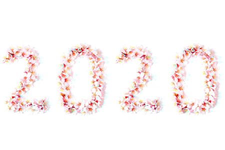 Number 2020 made from spring almond flowers on a white background in glitch effect