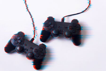 Gamepad in glitch effect on a white background, concept of the game, activity, technology, internet Stockfoto - 136840951