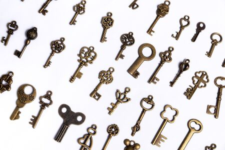 Group of diverse keys on a white background, home concept Stockfoto - 137447117