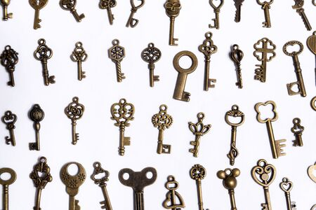 Group of diverse keys on a white background, home concept Stockfoto
