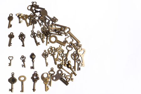 Group of diverse keys on a white background, home concept Stockfoto - 138087675