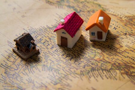 World map with houses, USA close up Stockfoto - 138087677