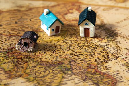 World map with houses, China closeup Stockfoto - 138087680