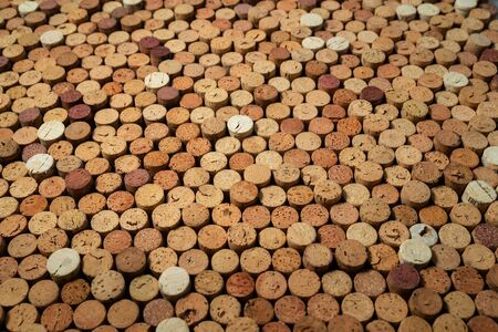 Many used wine corks, creative design background Stockfoto - 138087682