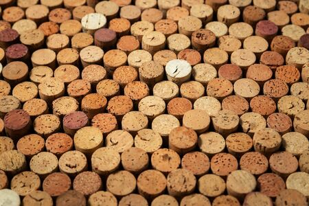 Many used wine corks, creative design background Stockfoto - 138087683