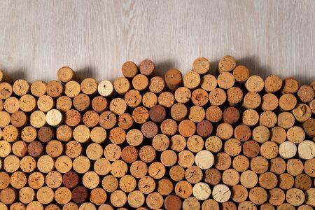 Many used wine corks, creative design background Stockfoto - 138087686