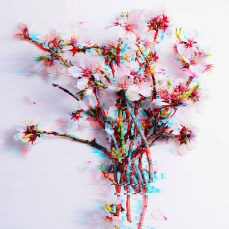 Romantic background spring flowers in the glitch effect