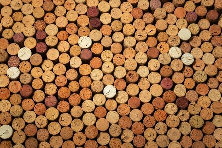 Many used wine corks, creative design background Stockfoto