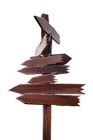 Wooden brown signpost directions without labels on white background