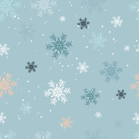 Seamless vector pattern with multicolored snowflakes on the blue background