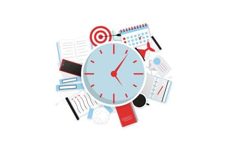 Abstract working and time management, goals and targets concept. Isolated on the white background. Deal and tasks are completed. Vector illustration.