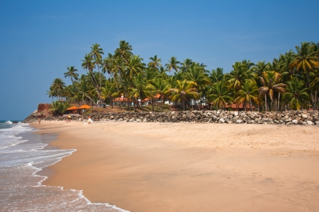 varkala: View of the Varkala beach, beach hotel located in a coconut grove behind the breastwork