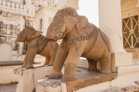 Broken statues of elephants at Khajuraho  10-11 century AD   Located at the eastern group of temples photo