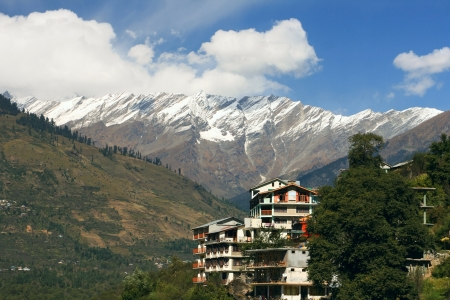 Guest house in the village of Vashisht  From the balcony you can admire the beautiful mountain views  Kulu Valley, Himachal Pradesh, India  photo