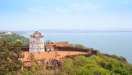 aguada: Ancient Aguada Fort and lighthouse was built in the 17th century. Located in Candolim at the mouth of the Mandovi River, which flows into the Arabian Sea.